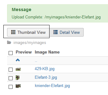 Joomla Weg zur Thumbmail View