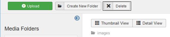 Joomla Delete Button um die Bilder mit einem grünen Haken zu löschen
