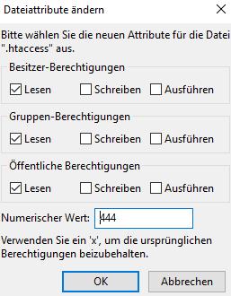Neue Werte in der Datei .htaccess