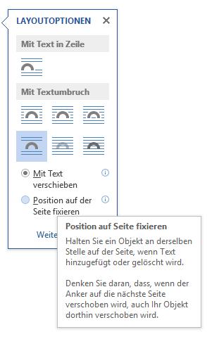 Word Layoutoption Position auf Seite fixieren auswählen