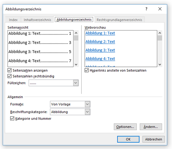 Word Abbildungsverzeichnis Optionen für das Einfügen