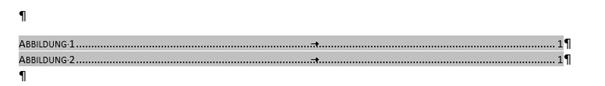 Word markiertes Abbildungsverzeichnis