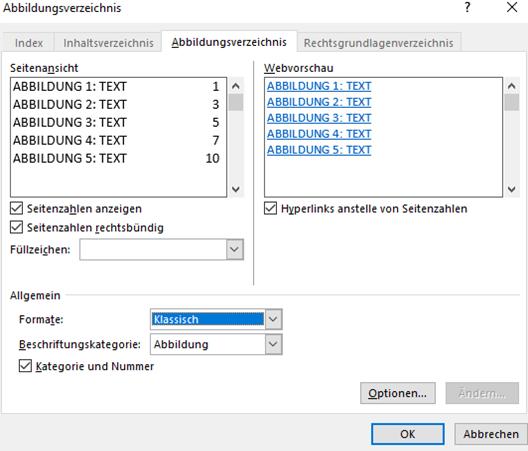 Word Abbildungsverzeichnis auf Format Klassisch umstellen