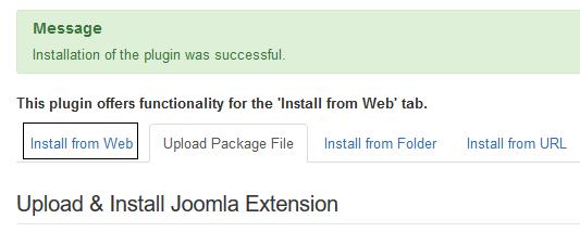 """Joomla Plugin für """"Install from Web"""" wurde installiert"""