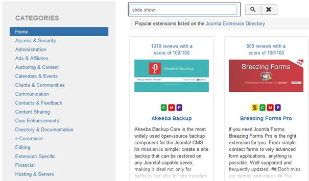 Joomla Für die Auswahl zur Installation von Extensions werden Kategorien angeboten