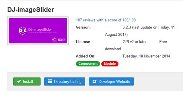 Joomla DJ-ImageSlider wird als Joomla Modul zum Installieren angeboten