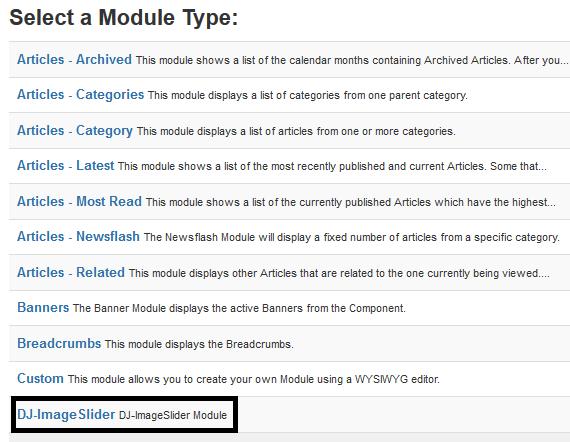 Joomla Liste mit Modultypen (Teilsicht)