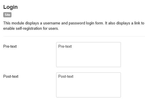 Joomla Einstellung Pre-text und Post-text für Login Bereich