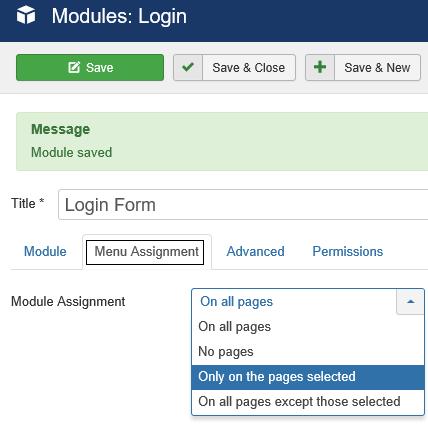 Joomla Einstellung auf welchen Seiten soll der Login Bereich erscheinen