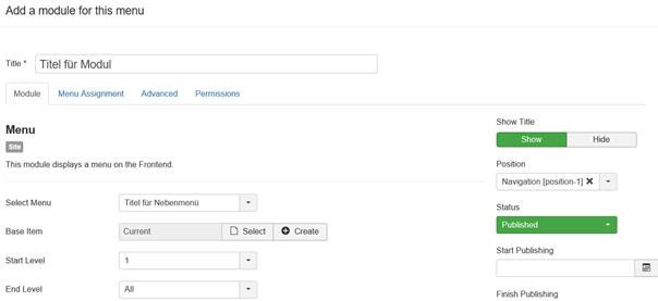 Joomla Modul mit Menu Type Menu für neues Menu anlegen
