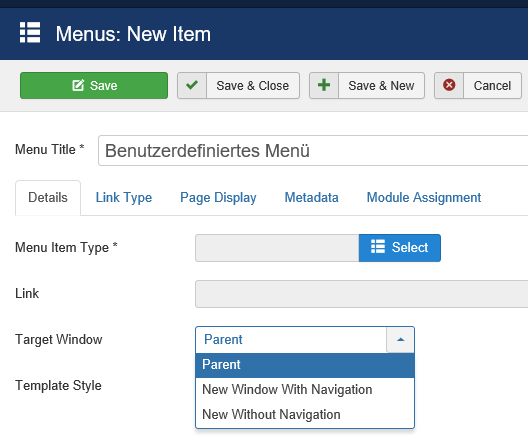 Joomla Definition eines neuen Menu Items