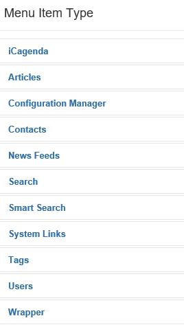 Joomla Liste der verfügbaren Menu Item Types