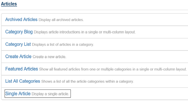 Joomla Optionen für den Menu Item Type Articles