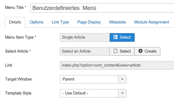 Joomla Definition Menu Item mit Select Article