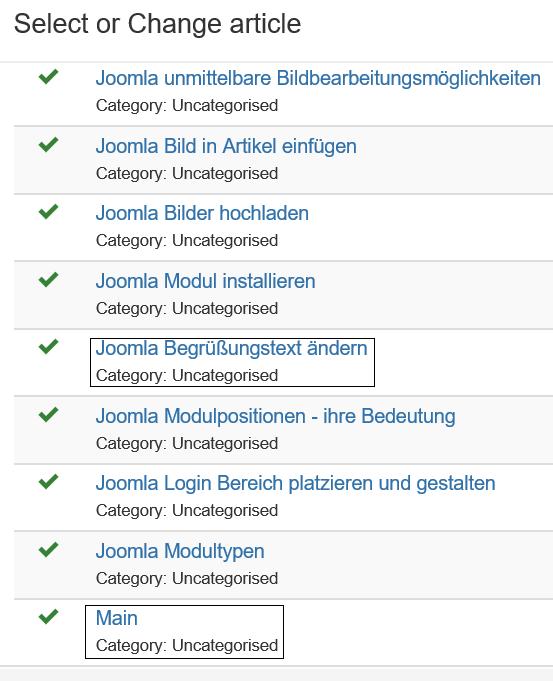 Joomla Definition Menu Item Liste aller vorhandenen Artikel