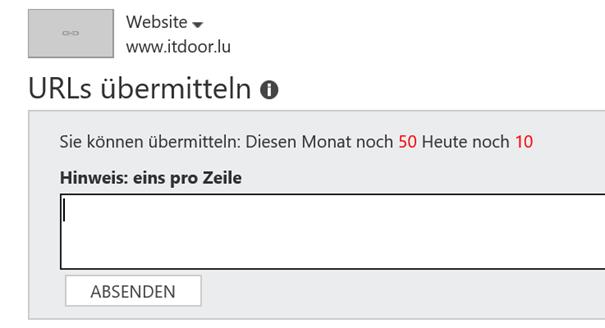 Bing Webmastertools URLs an Bing übermitteln