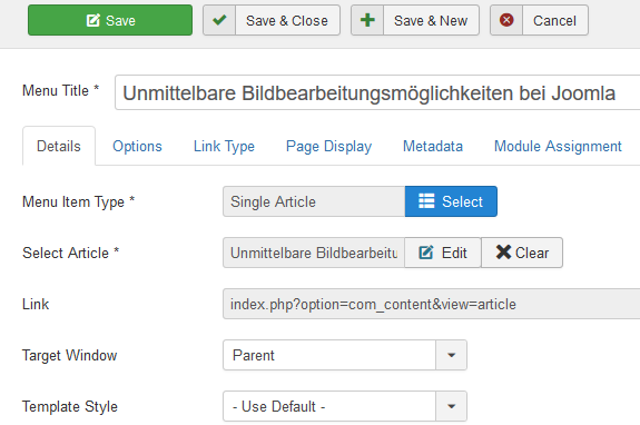 Joomla Menu Item mit Single Article erstellen