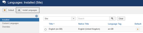 Joomla Installation Englisch als Standardsprache