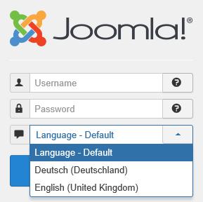 Joomla Login jetzt Auswahl zwischen 2 Sprachen
