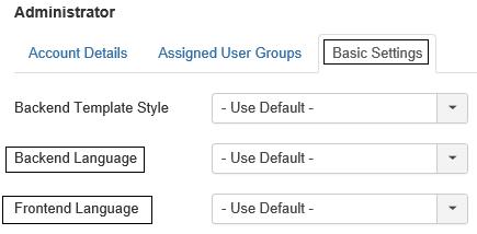 Joomal User Profil für Adminstrator Spracheneinstellungen