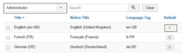 Joomla Installierte Sprachen Administrator Sicht