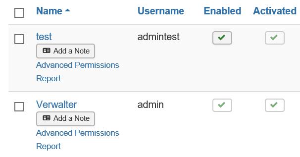 """Joomla Userübersicht mit den Usern """"Verwalter'"""" und """"test"""""""