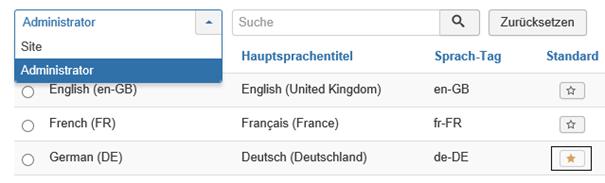Joomla In der Sprachenübersicht sind keine User auswählbar (Beweis)