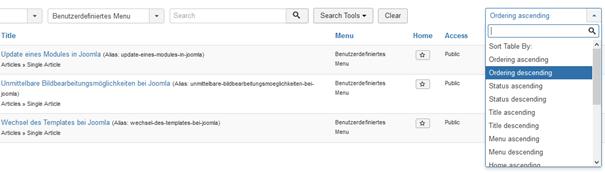 Joomla Übersicht Menu Items andere Reihenfolge als im Menü