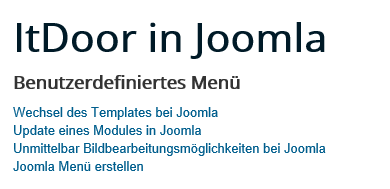 Joomla 4 Menüpunkte auf Ebene 1
