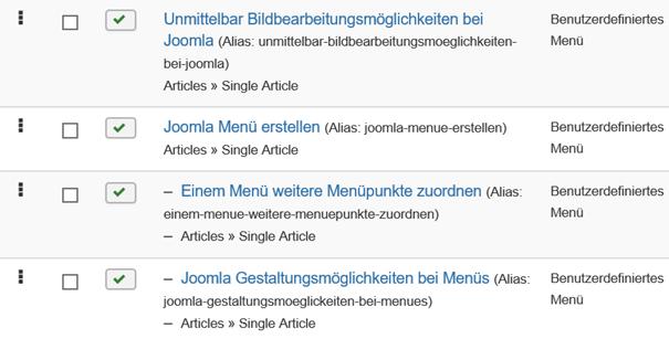 Joomla Übersicht der Menu Items, zweite Ebene mit Strich vorne dran