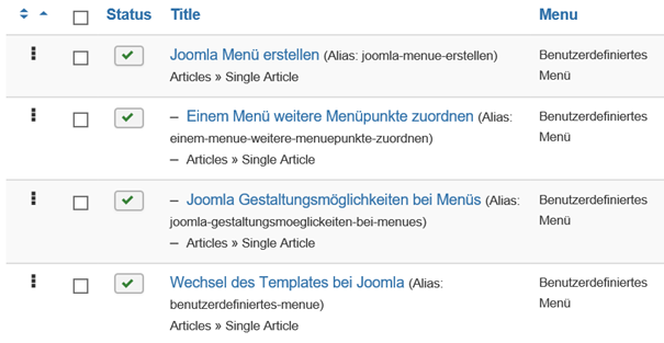 Joomla Menu Items Ebene 2 wandern bei Verschiebung von Ebene 1 mit