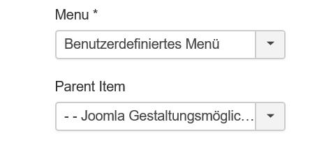 Joomla Gestaltungsmöglichkeiten bei Menüs als Parent Item