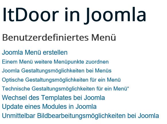 Joomla Menu mit 3 Ebenen