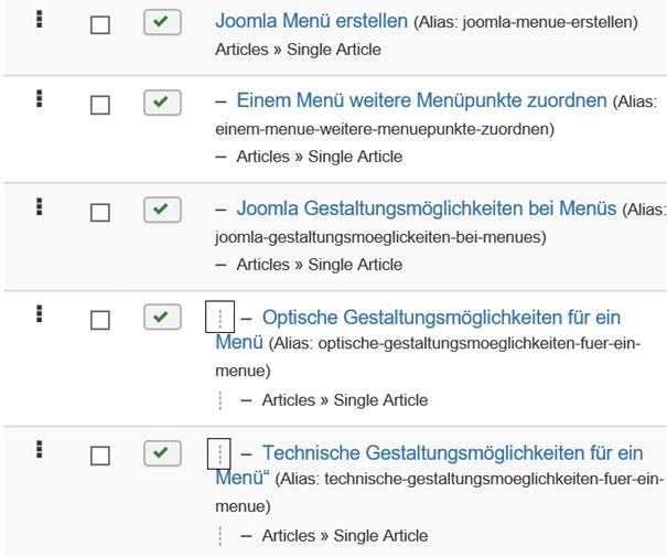 Joomla Übersicht Menu Items Menüpunkte der dritten Ebene haben vorne 3 kleine Striche