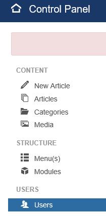 Joomla Weg 1 zu User Einstellungen
