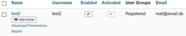 Joomla Der angelegte User ist zugleich freigegeben und aktiviert