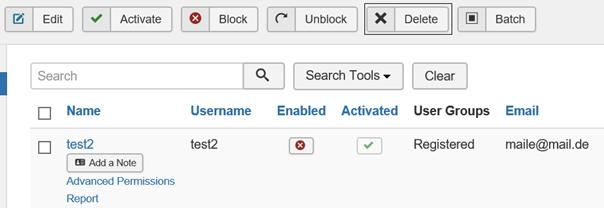 Joomla Ein nicht freigegebener User