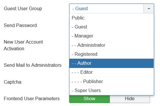 Joomla Mögliche User Gruppen für neue User