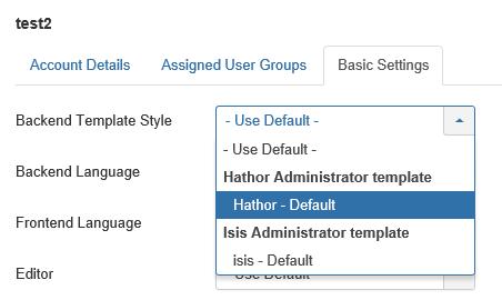 Joomla User Backend Template Style