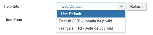 Joomla User Auswahl der Helpsite