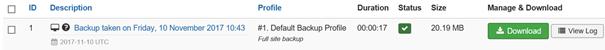 Joomla Akeeba Übersicht der bisher erstellten Backups