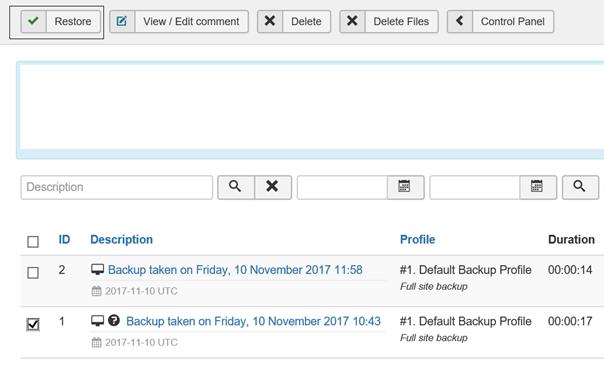 Joomla Akeeba Liste mit 2 Backups