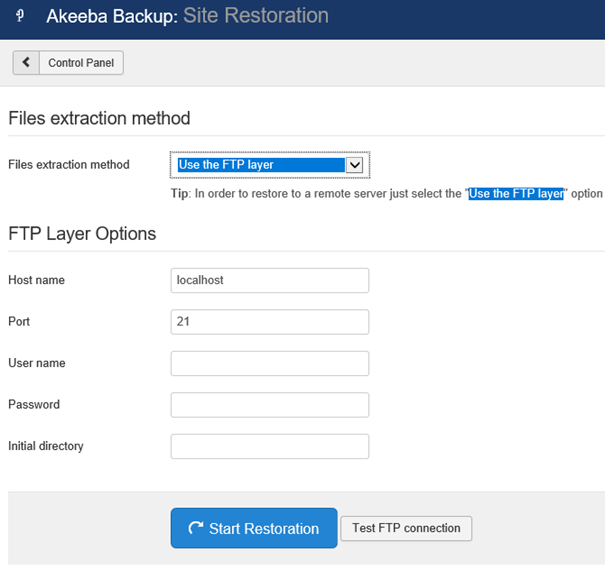 Joomla Akeeba Files Felder für FTP Layer Options