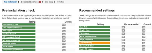 Joomla Akeeba Ergebnis Pre-Installation Check und empfohlene Einstellungen