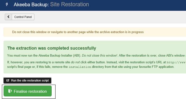 Joomla Akeeba Restoration Page jetzt mit Finalise restoration Button