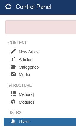 Joomla Weg 1 zu Benutzergruppen