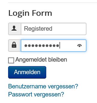 Joomla Der Benutzer Registered loggt sich ein