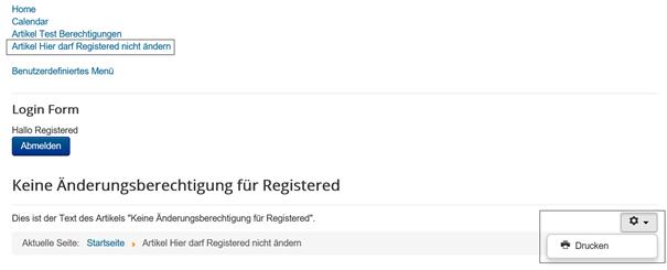 Joomla Der Benutzer Registered darf diesen Artikel nur ausdrucken