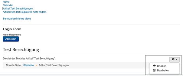 Joomla Der Benutzer Registered darf diesen Artikel bearbeiten