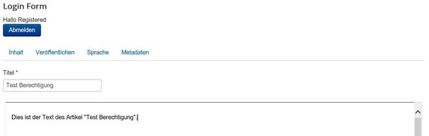 Joomla Der User Registered ist nun im Artikel um den zu bearbeiten